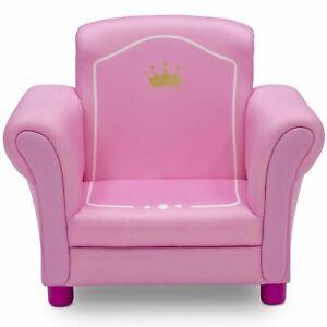 Delta Children Princess Crown Kids Upholstered Chair, White/Pink