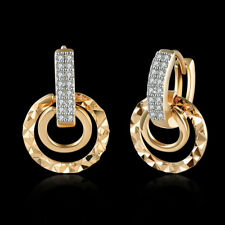 Classic 18K 18CT Yellow/White Gold Filled GF Round Hoop Huggies Earrings E-A712