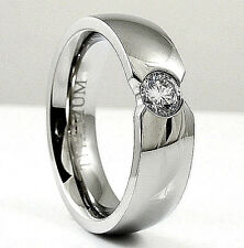 High Polished Titanium RING with 5mm Round CZ, sizes 7, 8, 10, 11, 12, 13