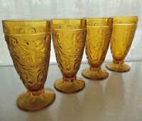 Tiara Indiana Glass 4 Amber Sandwich 10 oz Footed Tumblers