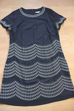 BODEN  navy / ivory Fancy Embroidered Dress  size 12R   WH708