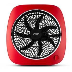 Comfort Zone Turbo Fan 10 Inch Square 3 Speed Adjust Tilt 110RD Table Desk, Red