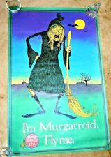 VINTAGE POSTER OCCULT AIRWAYS I'M MURGATROID FLY ME SGNED BY NELSON 1973