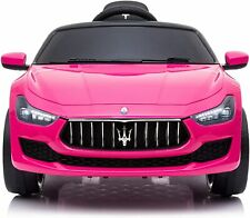 12V Kids Ride On Car Maserati Ghibli Electric Toy Girls Birthday Gift Pink w/ RC