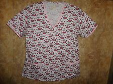 GIRL MICE EATING WATER MELONS, HEARTS,SCRUB TOP SIZE XL (2 POCKETS)