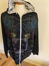 Live Mechanics Jacket Mens 3XL Black Embroidered Satin Lining Hoodie