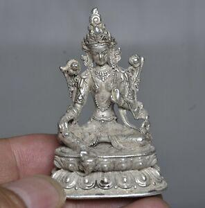 """2.4"""" Old Tibet Silver Temple Green Tara Kwan-yin Guan Yin Goddess Statue"""