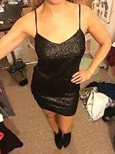 SEQUIN STRAP PARTY DRESS BNWTS BLACK MINI FESTIVAL SHORT Size 10