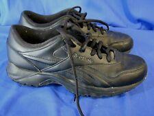 Vintage SOLID BLACK REEBOK DMX Walking Comfort Shoes SNEAKERS LACE-UP Oxford 9.5