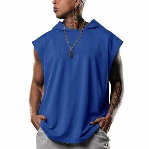 Summer Crew Neck Vest For Men Fitness Tank Tops T Shirt Sleeveless Hooded Loose