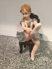 """Italy's Montefiori Collection Sitting Ballerina Figurine with Her Leg Up 7"""""""