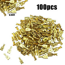 100pcs 6.3mm Brass Crimp Terminal Cable Female Spade Connector Non-insulated