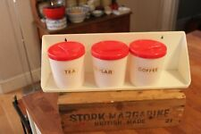 Vintage Set 3 Red & White 1970's / 1980's Plastic Kitchen Canisters on Rack –