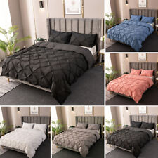 Plain Pleated Pillow Case Duvet Cover Bedding Set Twin Full Queen Super King New