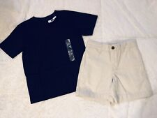 Gap Kids Boys Outfit Set T-Shirt Top Cargo Shorts Khaki Blue Size 4 4/5