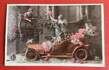 CPA. 1909. Automobile. Petite Fille Ange. Carquois. Cupidon. Jeune Fille. Balcon