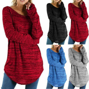 Plus Size Womens Long Sleeves T-shirt Jumper Casual Tunic Loose Tee Shirt Blouse