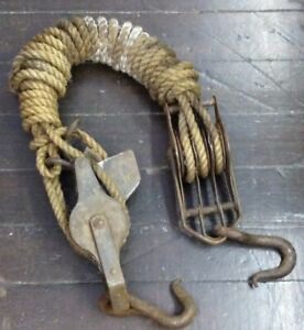 Antique Rope Pulley Block & Tackle Fence Stretcher Farm Vintage Barn