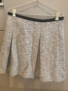 Danni Minogue Petites Size 14 Black White Textured Pleat Lined Short Skirt NWT
