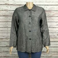 Bloomingdales Linen Slub Button Front Shirt Jacket Size 14 Gray Black Pockets