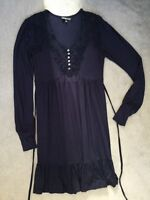 WAREHOUSE - NAVY BLUE DRESS WITH SCOOP NECKLINE, LACE FRONT & LONG SLEEVES - 10