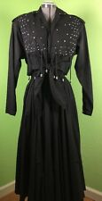 Western dress black Vintage Small fringe Varda Garfinkel studs