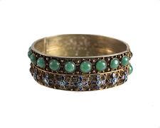 Chinese Gilt Silver Filigree Jadeite and enamel bangle bracelet c1920, hinged