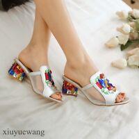 Womens Mid Block Heel Peep toe Colorful Rhinestone Fashion Slippers Shoes Sandal