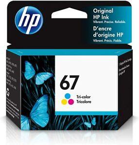 HP 67 Tri Color Ink Cartridge Sealed Box Exp 08/2022