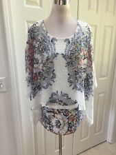 NWT Reba White Floral Embellished Double Layered Poncho Top XL