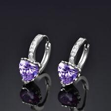 HUCHE Classic Heart Shape Purple Sapphire Amethyst Silver Hoop Women Earrings