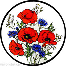 STAINED GLASS WINDOW ART - STATIC CLING  DECORATION - POPPIES AND CORNFLOWERS