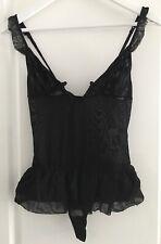 Body Transparent Noir jeu de volants décolleté jupe tulle string NO EXCUSE T 36