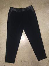 Ann Taylor Black Faux Leather Waist Ankle Pants Size 6