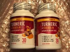2 Turmeric + Forskolin Advanced Weight Loss 30 Capsules Reduce Appetite Burn Fat