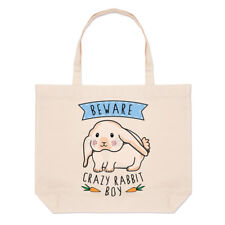 Beware Crazy Rabbit Boy Large Beach Tote Bag - Funny Bunny Animal Pet