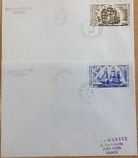 FRENCH ANTARCTIC COVERS 1973 ANTARCTIC SHIPS  SG 85/86 CAT £24 USED