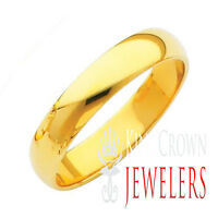 MEN'S WOMEN'S 5MM 10K SOLID YELLOW GOLD PLAIN COMFORT FIT WEDDING BAND RING 5-13
