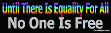 Until There Is Equality For All No One Is Free -  Liberal Window/Bumper Sticker