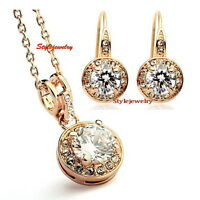 Rose Gold Plated Clear Crystal Inlayed White Pearl Wedding Set With Ring XS35