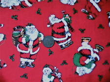 RED WITH TRADITIONAL STYLE SANTAS - COTTON FABRIC BY THE FAT QUARTER