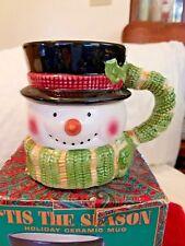 Tis the Season Holiday Ceramic Mug Christmas Cup Snowman 20 fl oz. Usa Seller