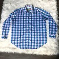 Robert Graham Button Up Long Sleeve Shirt Men's Size 2XLT Tall Blue Purple