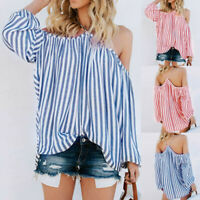 Womens Fashion Casual Striped Print Blouse Open Shoulder Strapless T-shirt Tops