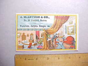 1880s A. McARTHUR & CO. BOSTON FURNITURE CARPETS TRADE CARD WITH PRICES Fine