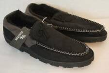 Mens Slippers Black Gray Moccasins Large 12 - 13 House Shoes In / Outdoor Sole