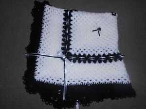 WHITE AND BLACK 40 INCHES HAND CROCHET PHOTO PROP BABY REBORN BLANKET SHAWL
