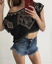 Te Amo Black Studded Off Shoulder Top Size 10
