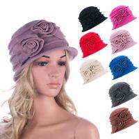 Womens 1920s Gatsby Wool Warm Flower Beanie Floppy Hat Cap A287