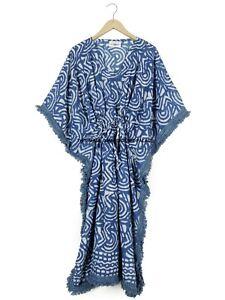 Indian Cotton Floral block print kaftan For women cover up Night Short Maxi Dressing Gown swim Caftan dress A Line kurti Plus Size Tunic Top